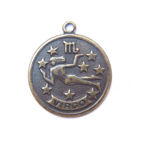 antiqued brass zodiac coin - virgo