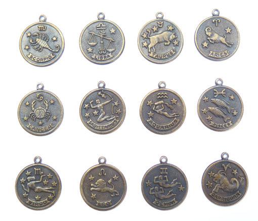 antiqued brass zodiac coins