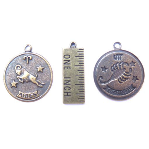 antique brass zodiac coins