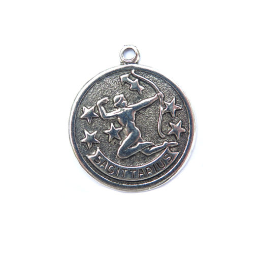 antiqued silver zodiac coin pendants