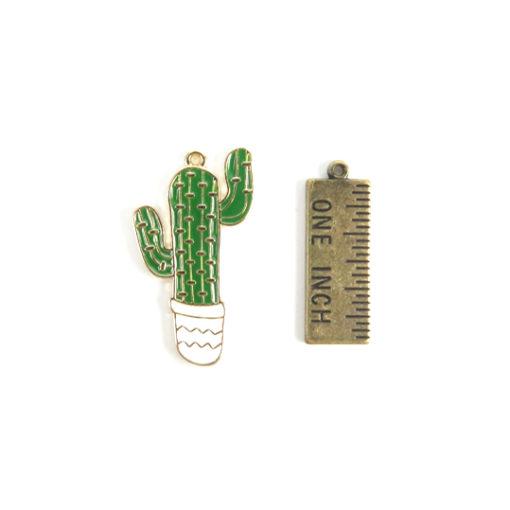 enamel cactus charm