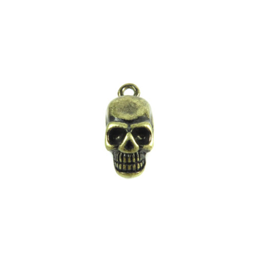 antiqued brass 3d zinc skull charm