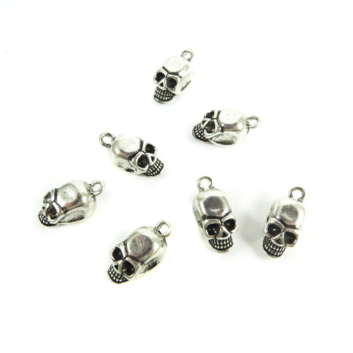 antiqued silver zinc 3d skull charms
