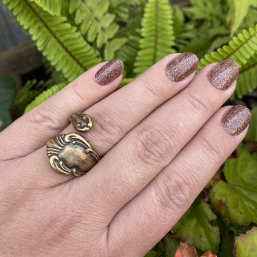 antiqued brass spoon ring