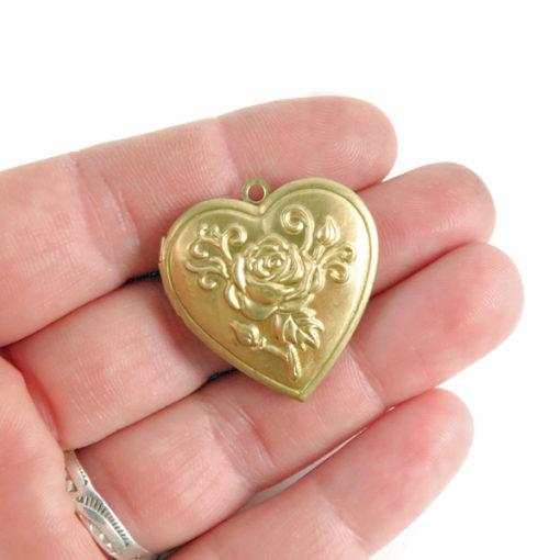 floral brass heart locket