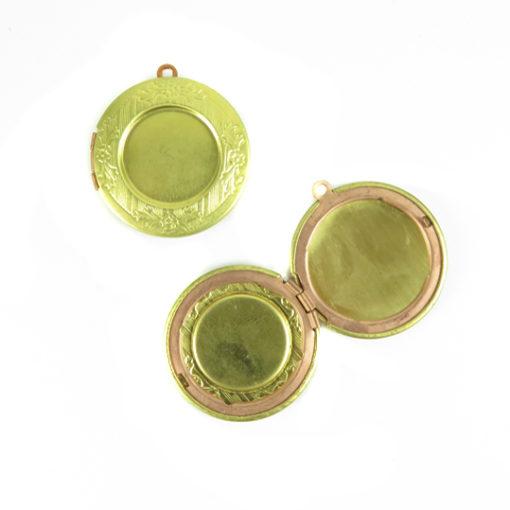 floral etched circle locket
