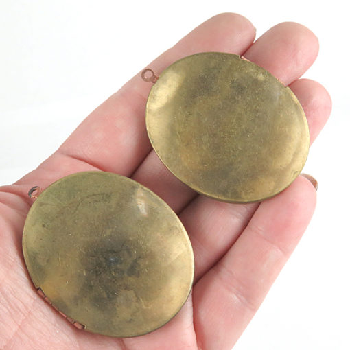 huge brass oval locket