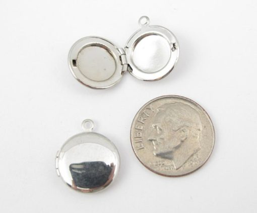 rhodium plated circle locket