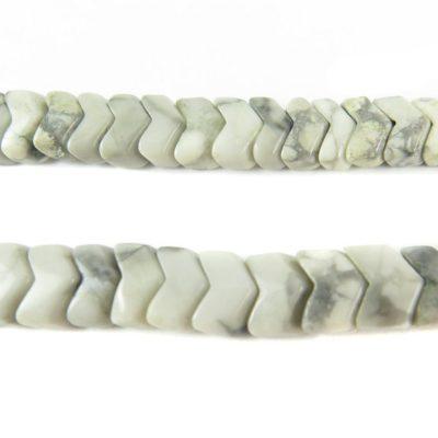 gray and white howlite chevron beads