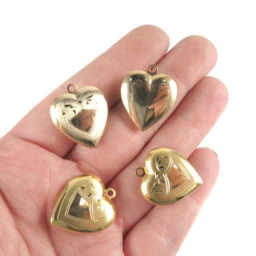 gold etched design heart locket