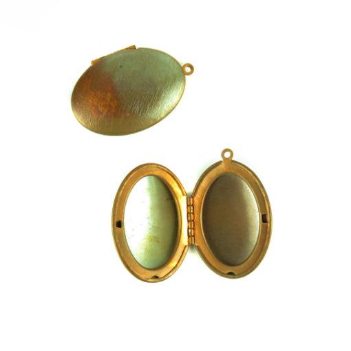 copper brass textured oval locket