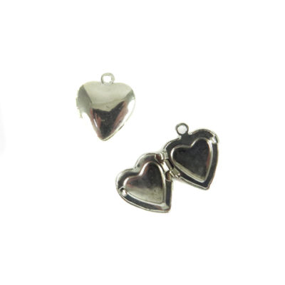 rhodium plated heart locket