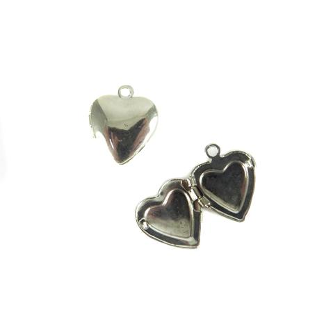 rhodium plated heart locket