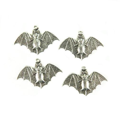 antiqued silver bat charm