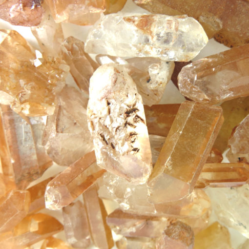 orange coral quartz pieces