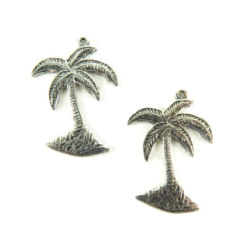 palm tree - antiqued silver