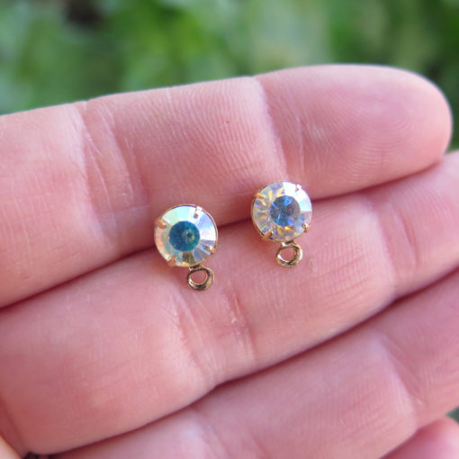 AB crystal stud earring with bail