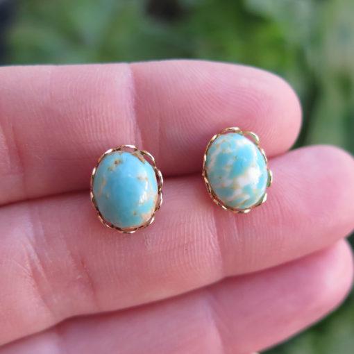 blue oval stud earrings