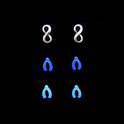 wishbone and infinity stud earrings