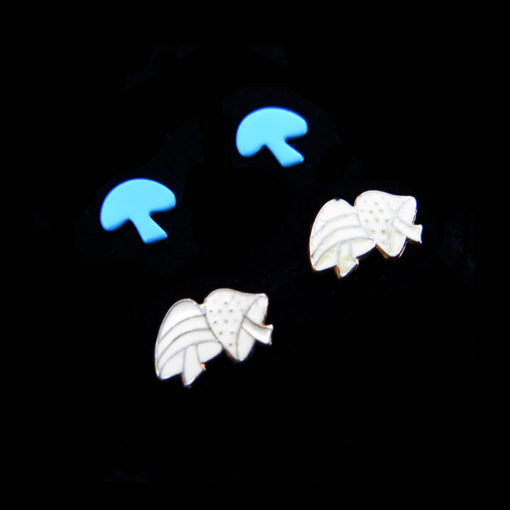 blue and white enamel mushroom earrings