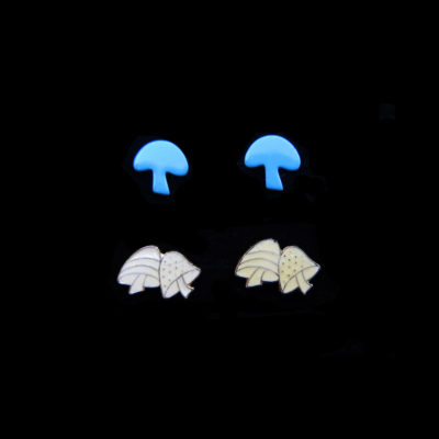 blue and white enamel mushroom earrings