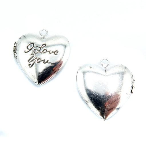 antiqued silver i love you heart locket
