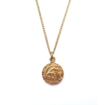 brass zodiac necklace - gemini