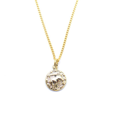 gold tiny zodiac necklace taurus