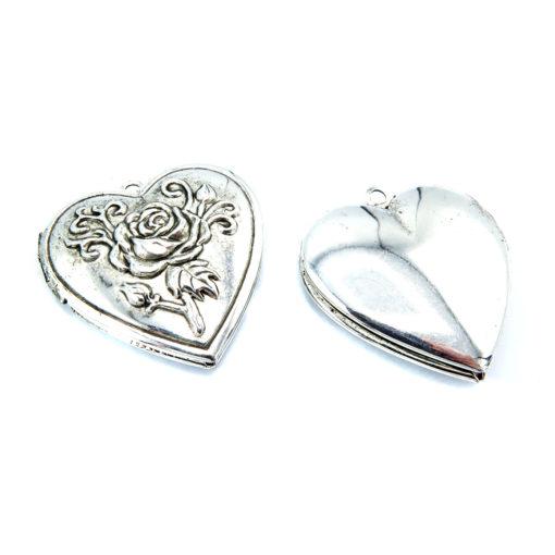 rose heart locket - antiqued silver