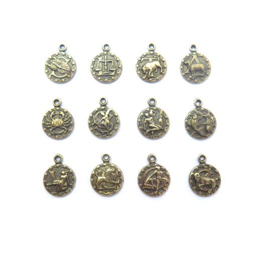 tiny zodiac - antiqued brass