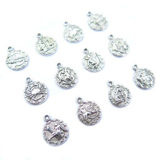 tiny zodiac - antiqued silver