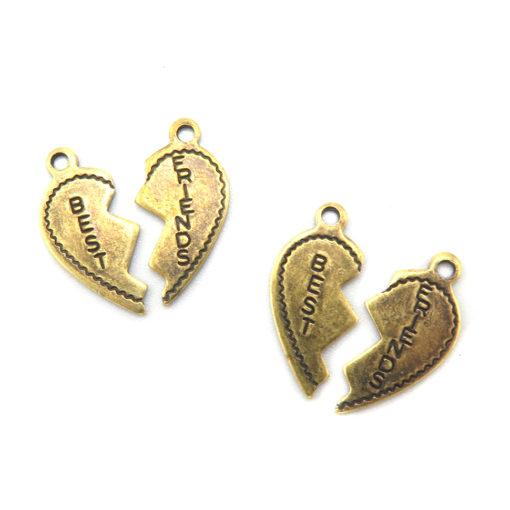 best friend broken heart charm - antiqued brass