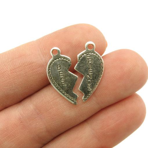 best friend broken heart charm - antiqued silver