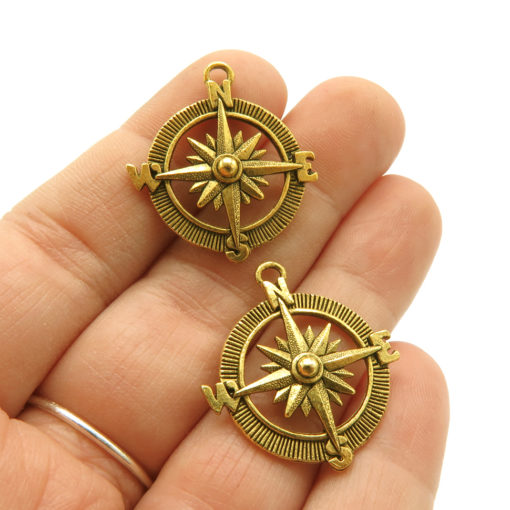 compass charm - antiqued gold