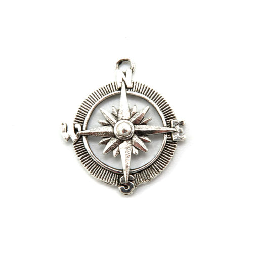 compass charm - antiqued silver