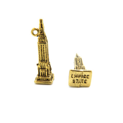 empire state building charm - antiqued gold