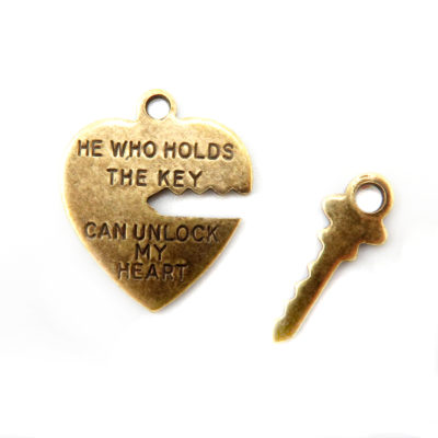 heart lock and key charm - antiqued brass