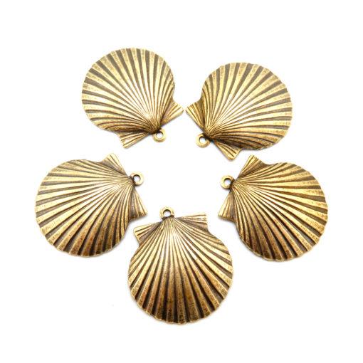 seashell charm - antiqued brass