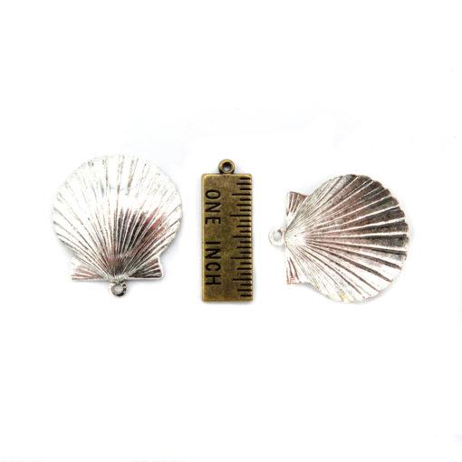 seashell charm - antiqued silver