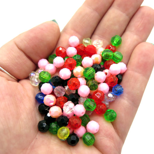 8mm colorful faceted beads