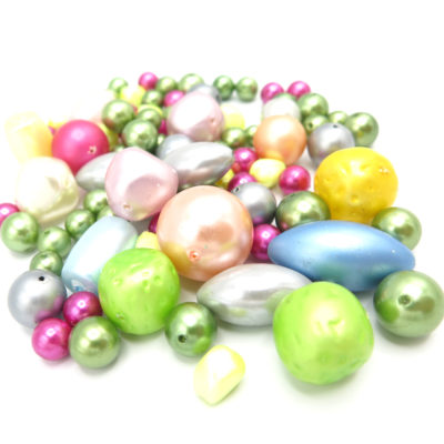 Faux pearlized plastic bead mix
