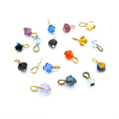 colorful crystal looped bead charms