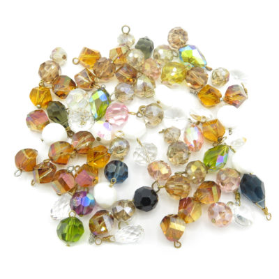 large earth and jeweled toned swarovski crystal charms