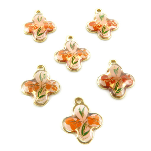 flower shaped red orange orchid cab
