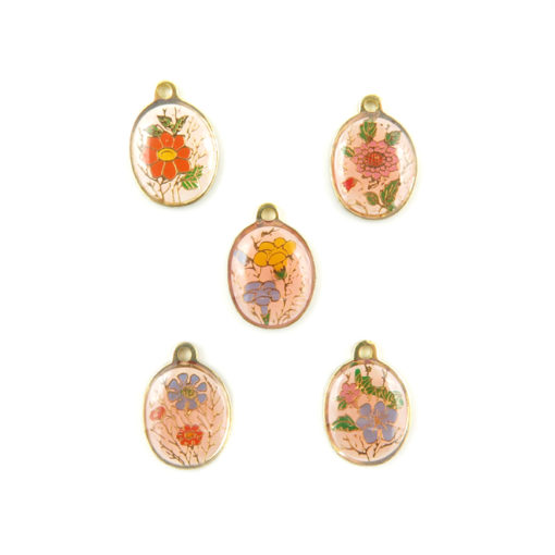 oval enamel floral resin charms