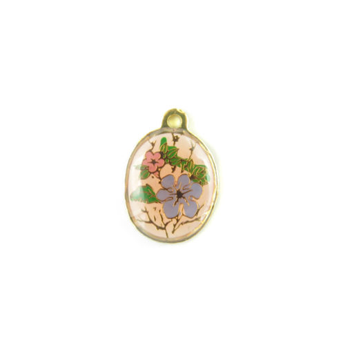 oval enamel charms - baby blue and pink flower