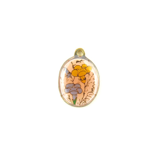 oval enamel charms - blue and yellow flower