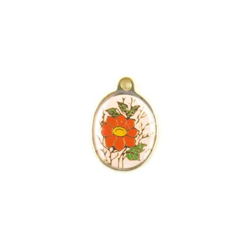 oval enamel charms - red orange flower