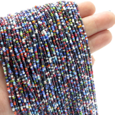 cool toned pearlized seed bead strands