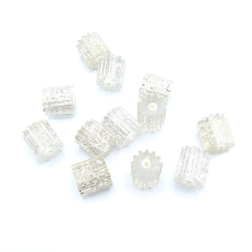 cylinder cog shaped clear glitter beads -